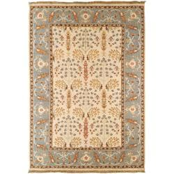 Hand-Knotted Buckhaven White/Multi-Colored Traditional Border New Zealand Wool Rug (8' X 10')