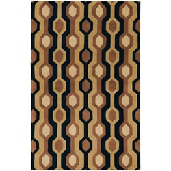 Hand-tufted Black Contemporary Alloa Wool Geometric Rug (12' X 15')