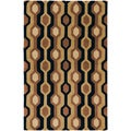 Hand-tufted Brown/Black Contemporary Alloa Wool Geometric Rug (12' X 15')
