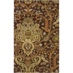 Hand-Tufted Polmont Brown/Gold Traditional Border Semi-Worsted New Zealand Wool Rug (9' X 13')