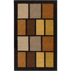Hand-tufted Black Contemporary Multi Colored Square Airdrie Wool Geometric Rug (9' X 13')