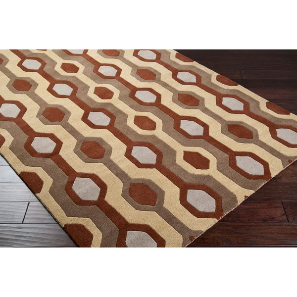 Hand-tufted Brown Contemporary Livingston Wool Geometric Rug (6' x 9')