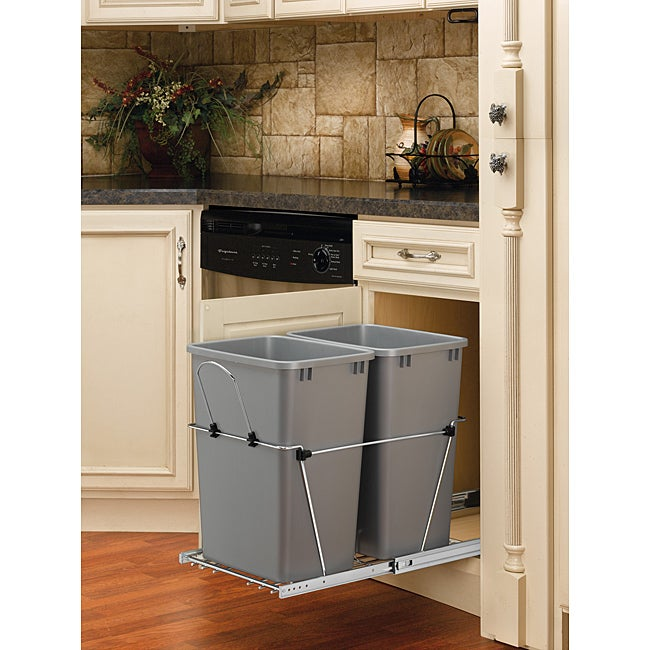 Rev-A-Shelf RV-18KD-17C S Silver Double 35-quart Waste Container