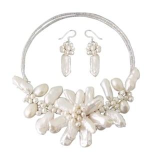 Freshwater White Pearl Garland Jewelry Set (3-20 mm)(Thailand)