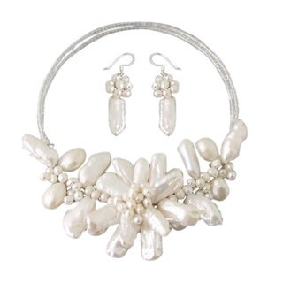 Freshwater White Pearl Garland Jewelry Set (3-20 mm)(Thailand)