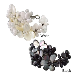 Silvertone White Mother of Pearl and Quartz Floral Cuff (Thailand)