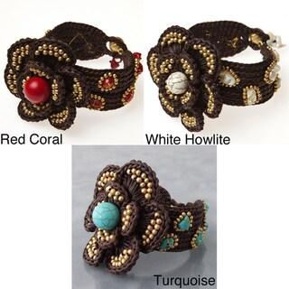 Goldtone Gemstone Floral Rope Bracelet (Thailand)