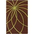 Hand-tufted Contemporary Brown/Green Hoboken /Green Wool Abstract Rug (10' X 14')
