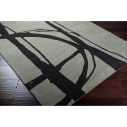 Noah Packard Hand-tufted Green/Black Contemporary Bernards New Zealand Wool Abstract Rug (8' x 11')