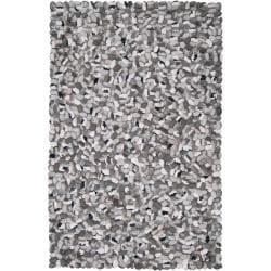 Hand-woven Grey New Zealand Felted Wool Stone Look Textured Rug (2' x 3')