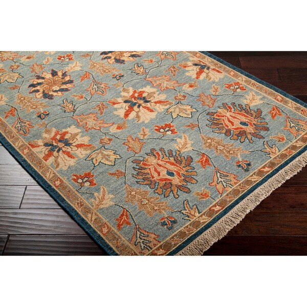 Hand-Knotted Vernon Blue/Orange Transitional Floral New Zealand Wool Rug (8' X 10')