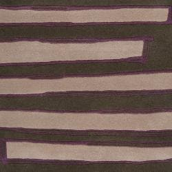 Noah Packard Hand-tufted Green/Purple Contemporary Trave Abstract New Zealand Wool Abstract Rug (5'