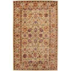 Hand-Tufted Sudan Tan/Multi-Colored Traditional Border Semi-Worsted New Zealand Wool Rug (2'6 X 8')