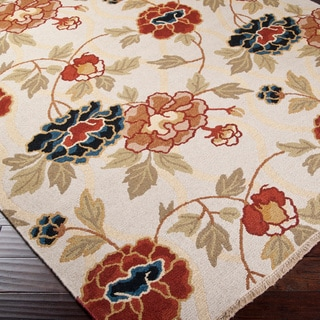 Hand-Knotted Phatnitic Ivory/Purple Transitional Floral New Zealand Wool Rug (6' X 9')