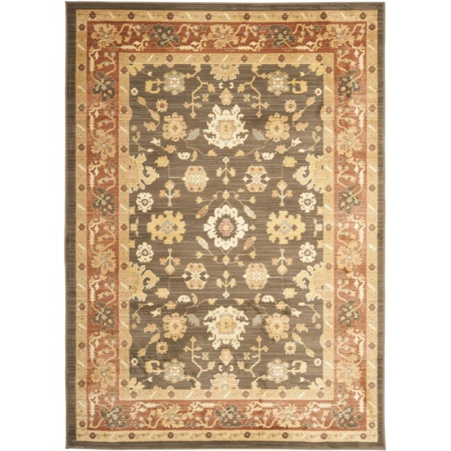 Safavieh Oushak Traditional Brown/Rust Powerloomed Rug (8' x 11')