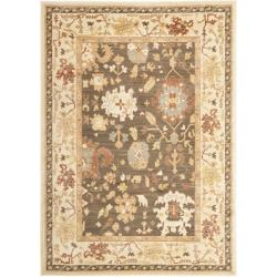 Oushak Brown/ Cream Powerloomed Rug (4' x 5'7)