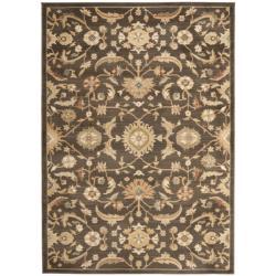 Oushak Brown/ Gold Powerloomed Rug (5'3 x 7'6)
