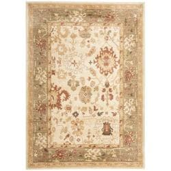 Oushak Cream/Green Power-loomed Polypropylene Rug (4' x 5'7