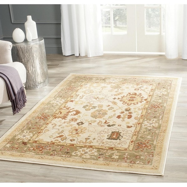 "Safavieh Oushak Cream/Green Power-loomed Polypropylene Rug (4' x 5'7"")"