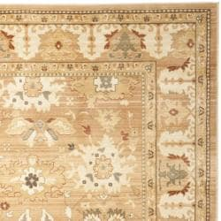 Oushak Light Brown/ Light Brown Powerloomed Rug (9'6 x 13')
