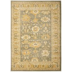 Oushak Grey/ Gold Powerloomed Rug (5'3 x 7'6)
