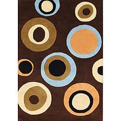 Handmade Metro Dark Brown New Zealand Wool Rug (5' x 8')