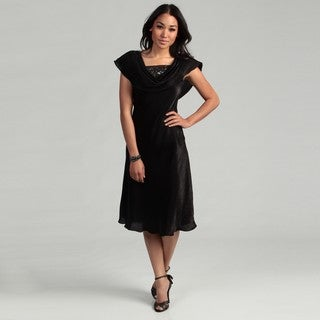 Patra Women's Black Bead Embellished Drape Dress