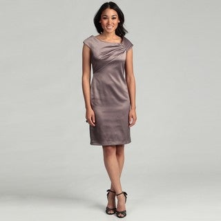 Patra Women's Latte Bead Embellished Ruched Dress FINAL SALE