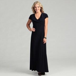 Patra Women's Lace Trim Cowl Neck Matte Jersey Dress