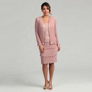 Patra Women's Stretch Lace and Pleated Chiffon Mock Jacket Dress