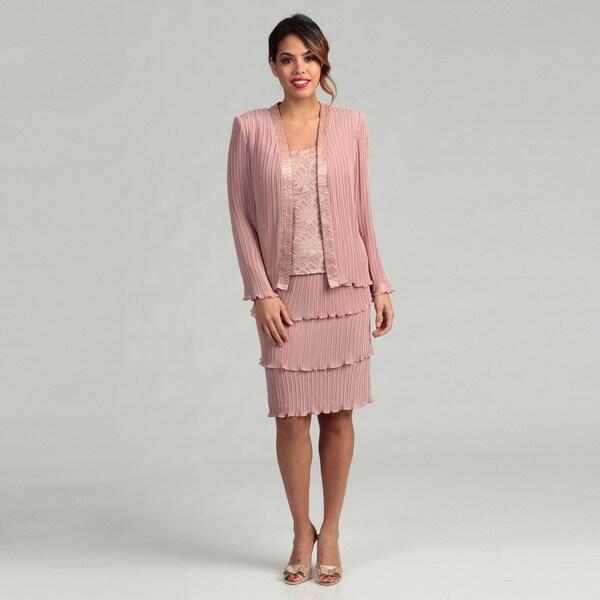 Patra Women's Stretch Lace and Pleated Chiffon Mock Jacket Dress