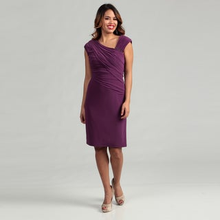 Patra Women's Asymmetrical Ruche Matte Jersey Dress FINAL SALE