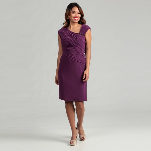 Patra Women's Asymmetrical Ruche Matte Jersey Dress FINAL SALE