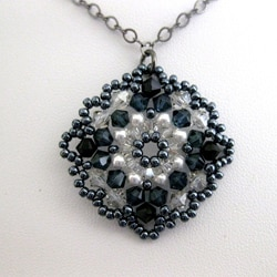 Gunmetal Chain 'Victorian' Crystal and Bead Necklace