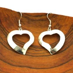 Silvertone Cut-Out Heart Earrings (Mexico)