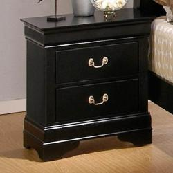 Gastone Jet Black 2-Drawer Nightstand