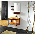 Solid Oak Orange Glass 27.5-inch Bathroom Vanity