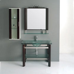 Solid Oak Coffee Brown 41.2-inch Bathroom Vanity