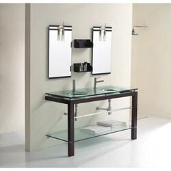 Solid Oak Coffee Brown 56.9-Inch Bathroom Vanity