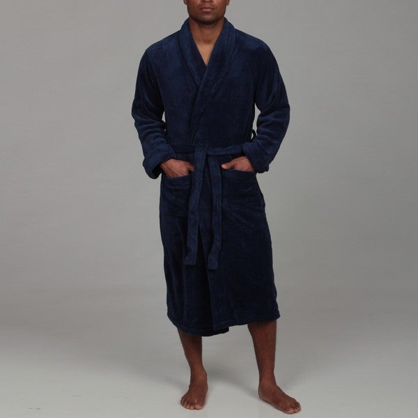 Woven Workz Unisex 'Boston' Navy Microfiber Bath Robe