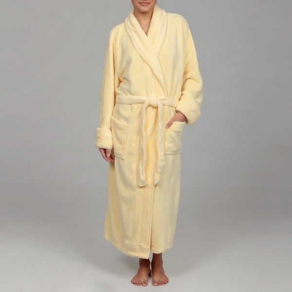 Woven Workz Unisex 'Boston' Yellow Microfiber Bath Robe