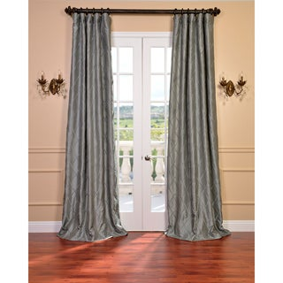 Alexandria Platinum Faux Silk Embroidered Curtain Panel