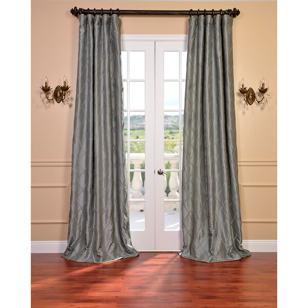 Exclusive Fabrics Alexandria Platinum Faux Silk Embroidered 96-inch Curtain Panel