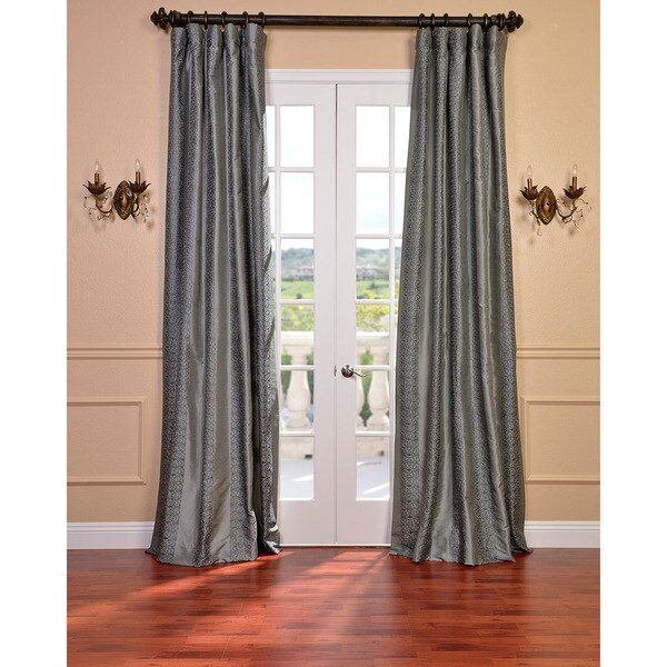 EFF Sterling Platinum Faux Silk Embroidered 108-inch Curtain Panel