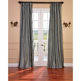 Sterling Platinum Faux Silk Embroidered 96-inch Curtain Panel