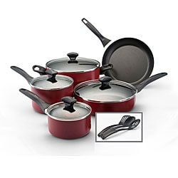 Farberware Dishwasher Safe Nonstick 12-piece Set, Red