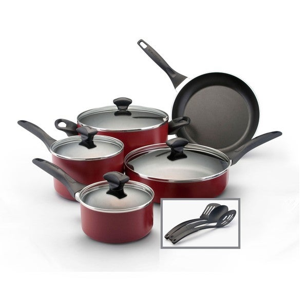 Farberware Dishwasher Safe Nonstick Red 12-piece Cookware Set **with $10 Mail-In Rebate**
