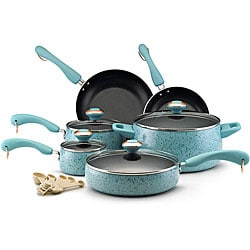 Paula Deen Collection Porcelain Nonstick 15-piece Set, Aqua Speckle