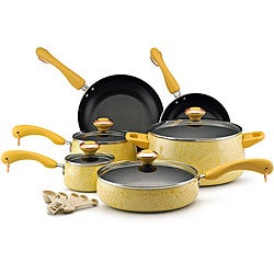 Paula Deen Collection Porcelain Nonstick 15-piece Set, Butter Speckle