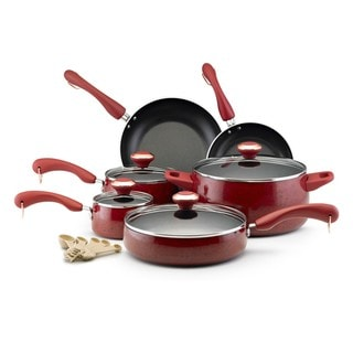 Paula Deen Collection Porcelain Nonstick 15-piece Set, Red Speckle